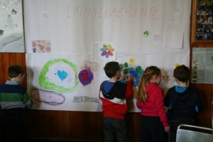 Some of the younger participants imagining a brighter Galway in the year 2030.