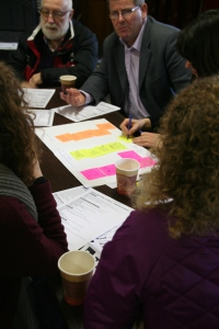 Visioning Session I 'Infrastructure' - participants including Cllr. Frank Fahy brainstorming ideas