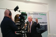 President of Galway Chamber of Commerce Frank Greene being interviewed by Irish TV for their 'Galway Matters' programme.