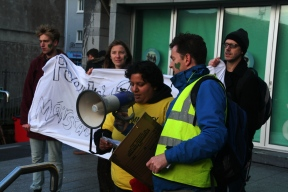 Siddhi Joshi of Amnesty International Galway giving a speech at the Galway City Museum, Spanish Arch.