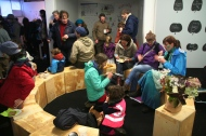 Community pot luck after the march at the Tulca Festival Gallery, 'Connacht Tribune' printworks, Market Street