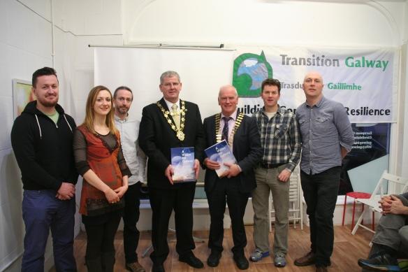 L to R - James Glynn, Mary Greene, Bernard McGlinchey, Mayor Frank Fahy, Frank Greene (Pres. Galway Chamber), Kieran Cunnane, Caoimhín Ó Maolallaigh