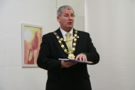 The Mayor of Galway, Cllr. Frank Fahy giving a speech at the launch.