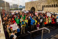 Group photo at the end of the march at Galway City Museum, Spanish Arch